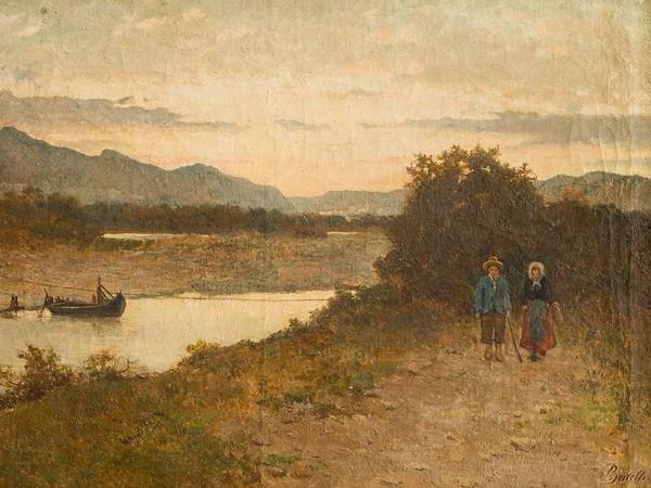 Luigi Bertelli, Il traghetto, olio su tela, 88x137 cm.