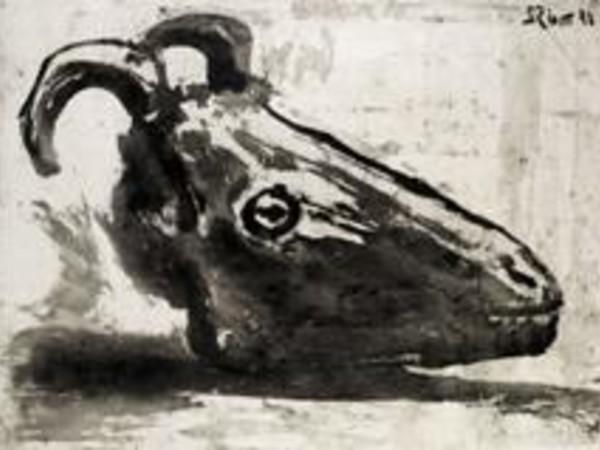 "Pablo Picasso, Le crâne de chérve, 1952, Acquatinta su carta ""Vergé de Montval"", mm 567 x 770"