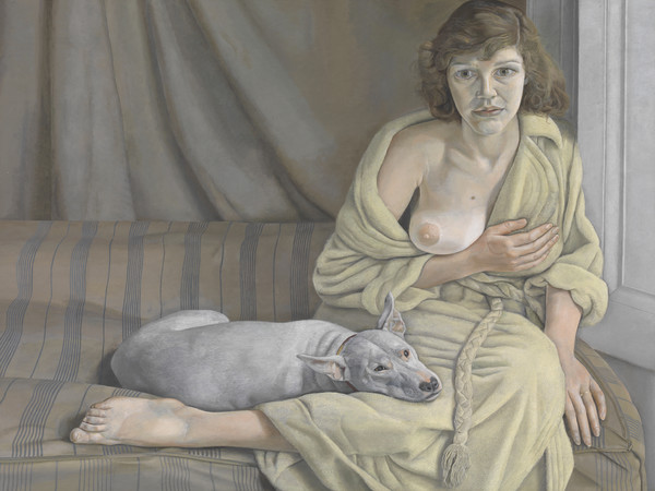 Lucian Freud, <em>Girl with a White Dog</em>, 1950-1951, Olio su tela, Lucian Freud Archive / Bridgeman Images | Foto: © Tate London | Courtesy of Chiostro del Bramante, Roma<br />
