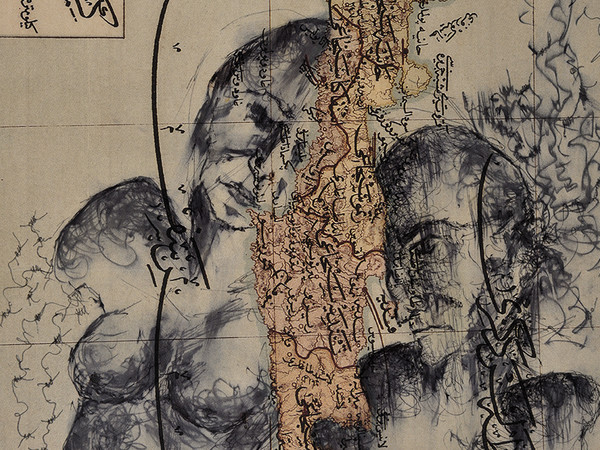 Zehra Doğan, Parçalanmış birliktelik, Insieme frammentato, 2018, Carcere di Diyarbakir, Penna a sfera su pagina di atlante,23 x 28 cm   Foto: Jef Rabillon