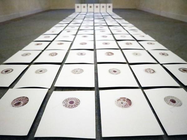 Camilla Marinoni, Zaffo, 2018. Serie di 100 carte Cotton 100%, cotone all'uncinetto, immagine fotografica, cm. 23x31 cad. Installation View
