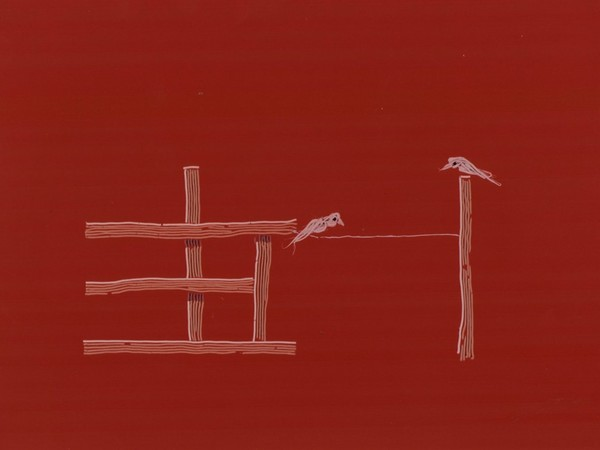 John Chilver, Partition, 1999, vernice fluorescente ad olio, cera, silicone su tela, cm. 150x200. Bergamo, Collezione Banca Popolare di Bergamo