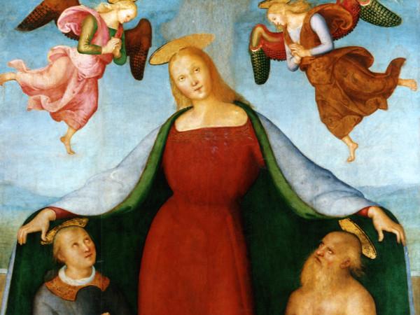 Pietro vannucci, detto Perugino, Madonna della Misericordia con i santi Lorenzo e Girolamo, due angeli e committenti, 1512-1513, Tempera su tavola, 147 x 201 cm, Bettona (Perugia), Pinacoteca Comunale
