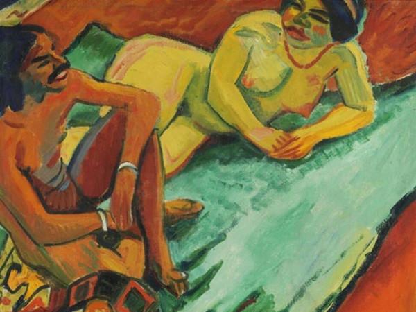 <span>M. Pechstein, <em>Weib mit Inder auf Teppich</em>, 1910</span>