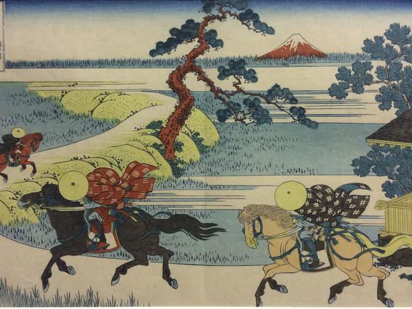 Hokusai, Katsushika Tamekazu, Vista del Fuji dal villaggio di Sekiyu sul fiume Sumida della serie 'Le 36 vedute del monte Fuji', 1830 circa, xilografia policroma su carta da gelso, 254 x 385 mm,