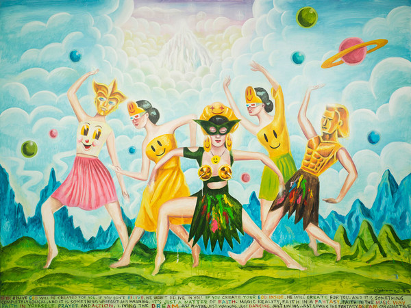 Sergio Mora, Supersonic Cosmic Dancers, 2020, oil on canvas, cm. 150x200