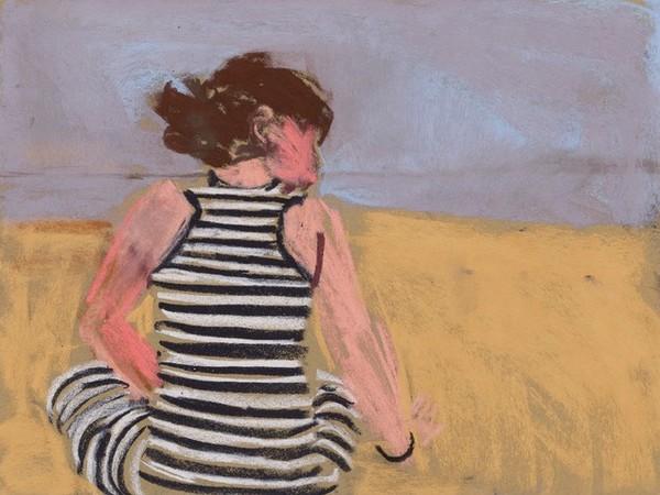 Chantal Joffe, Esme in a Striped Dress, 2017