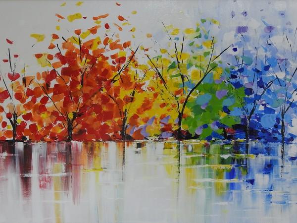 Barbara Trani, Il mio inverno a colori, 2018, tecnica mista, acrilico su tela, cm. 110x80