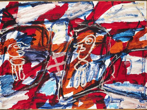 Jean Dubuffet, Site avec 2 personnages, E 491, gennaio 1982. Acrilico su carta incollata su tela, 50x67 cm.
