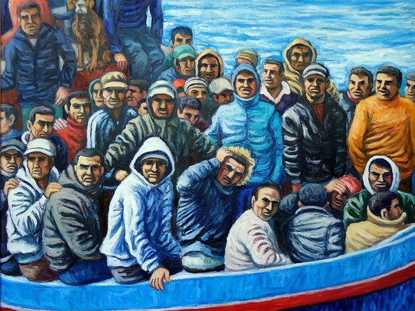 Giovanni Pinzone, Barcone con migranti, cm. 107X100