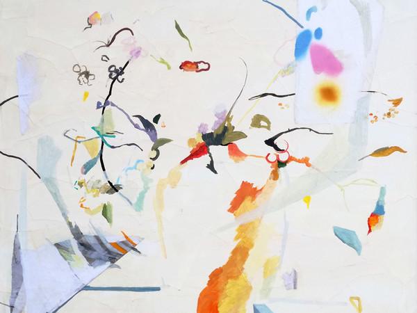 Anna Capolupo, Vaso di fiori, 2019, tecnica mista su carta applicata su tela, cm. 100x100