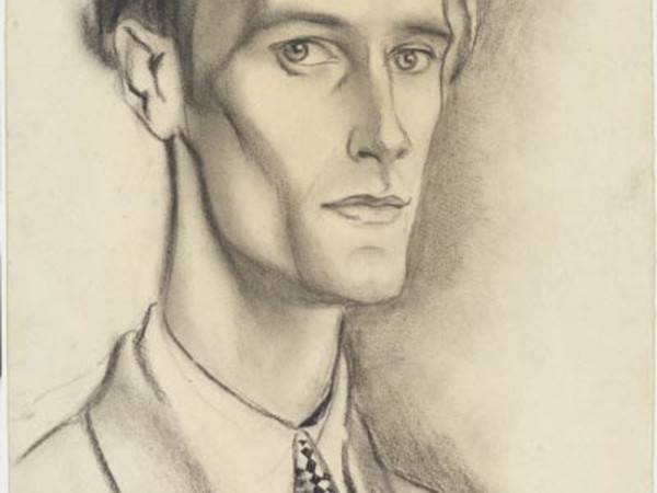 Giovanni Costetti, Profilo di Giuseppe Lanza del Vasto, 1926. Matita, carboncino su carta giallastra, GDS inv. 123138
