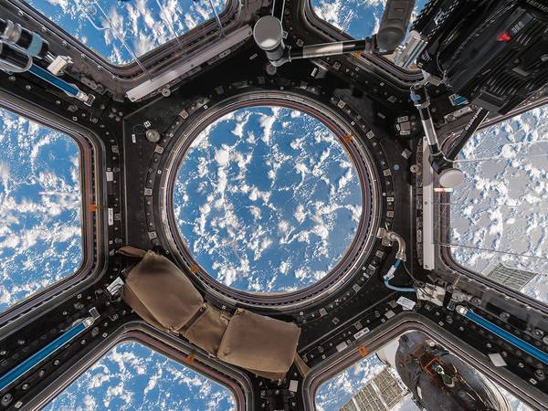 Paolo Nespoli and Roland Miller, Cupola with Clouds and Ocean International Space Station - ISS