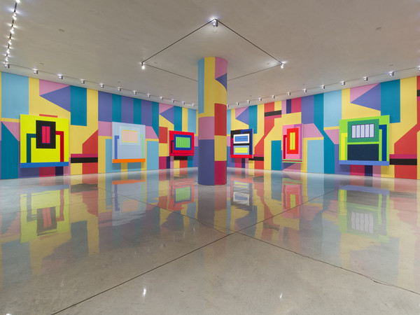 Peter Halley, Installation View, Mary Boone Gallery, New York. Collaboration with Alessandro Mendini, 2013