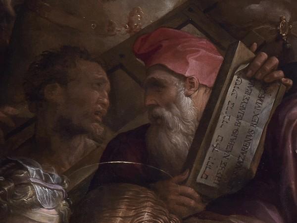 Andata al Calvario e incontro con Veronica, 1572, olio su tavola. Particolare del volto di Michelangelo dopo il restauro