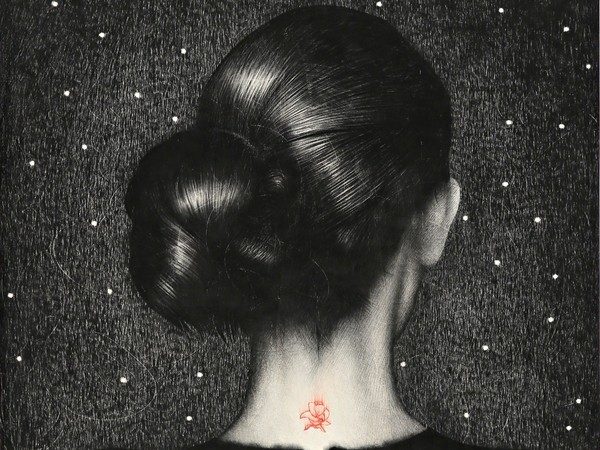 Omar Galliani, Berenice, 2015, matita e pastello su tavola
