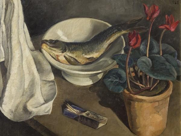 Amighetto Amighetti, Natura morta (con ciclamini, fiammiferi e pesce nel piatto), 1928, XVI Biennale di Venezia
