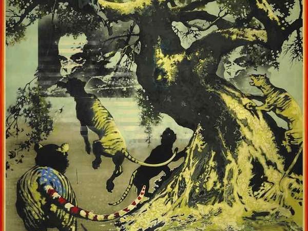 La vera storia della tigre di carta, 1970, tecnica mista su tela, cm. 150x150