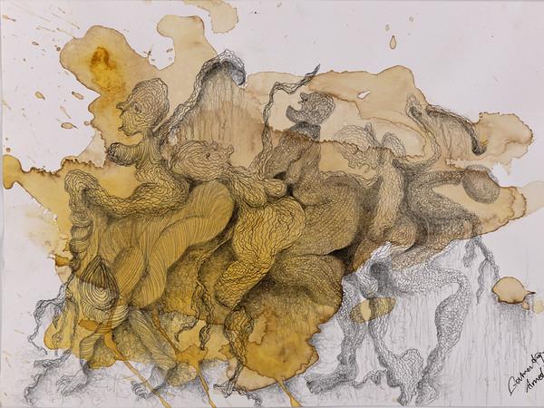 Zehra Doğan, Kervan 1, Caravan 1, 2017, Carcere di Diyarbakir, curcuma, caffè, penna da disegno su carta, 30 x 21 cm | Foto: Jef Rabillon