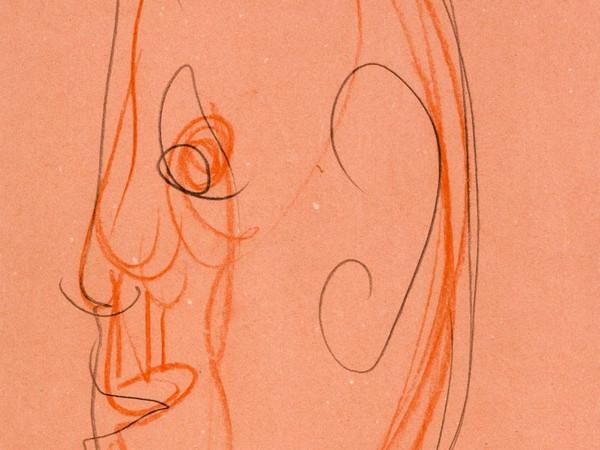 Aldo Mondino, Faccia di bronzo, 1989,  tecnica mista su carta, 35x26 cm.