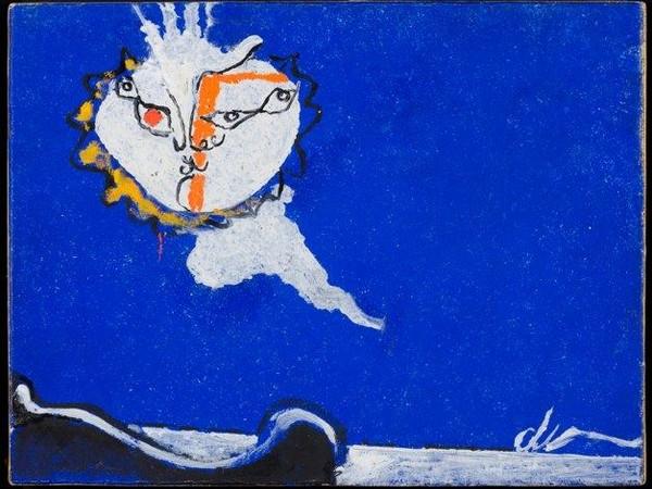 Osvaldo Licini, Amalassunta su fondo blu, 1950, olio su carta telata, cm 25,5 x 33,35