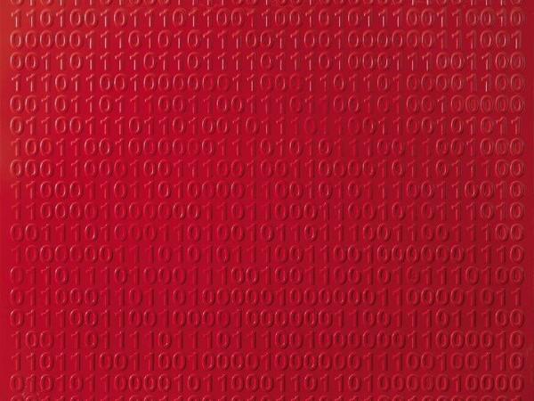Giordano e Michele Redaelli, Superficie rossa, 2017. Smalto su tela, cm. 100x100 (Pauline R. Kezer)