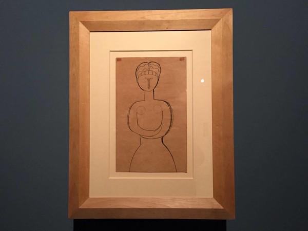 Amedeo Modigliani, <em>Cariatide</em>, 1910-1912, matita su carta fustellata, Cagliari, Galleria Comunale d'Arte<br />