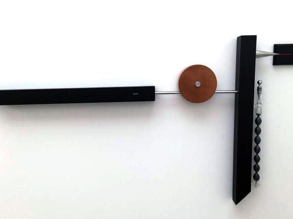 Emmanuele De Ruvo, Zeropointone, 2016, wood, steel, glass, lead, 80 x 140 cm. Forces: Gravity