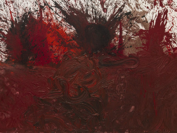 Hermann Nitsch, Schüttbild – 70. Malaktion, 2014, acrylic on jute, 300x200 cm.