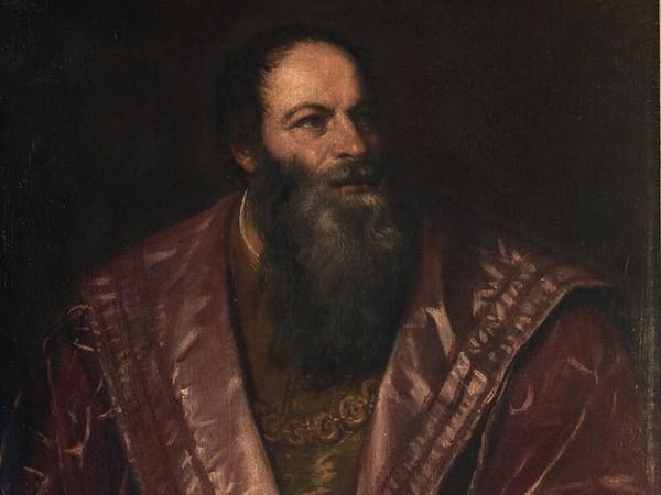 Tiziano Vecellio (Pieve di Cadore, 1488/1490 - Venezia, 1576) Ritratto di Pietro Aretino,1545, Olio su tela, Galleria Palatina, Gallerie degli Uffizi, Firenze
