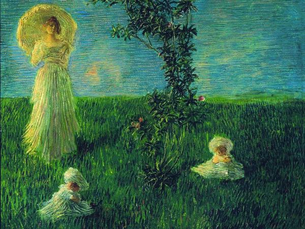 Gaetano Previati, Nel prato (Pace), 1889-90. Firenze, Gallerie degli Uffizi, Galleria d'Arte Moderna di Palazzo Pitti