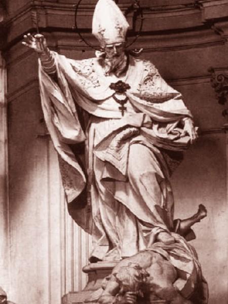 Sant'Agostino che calpesta l'Eresia tra la Carità e la Fede