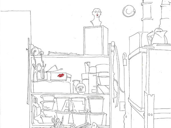 Alvise Bittente, <em>ESSENDO DATI CICALE...</em>, 2020, Bozzetto per l'omonima installazione site specific alla San Marcuola Atelier Galerie, con arrangiamenti musicali di Marco Brosolo dedicata a quell'ultima enigmatica opera di Duchamp, <em>Étant donnés</em>, riscrittura testuale e musicale della canzone pop <em>Cicale</em> di Heather Parisi, Pennarello, plastica trasparente, Disegno su mutandina, morsetti Gucci, ventilatore, diffusori acustici