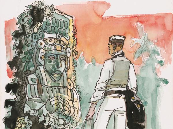 Hugo Pratt, <em>Corto Maltese. Copertina di &laquo;Le Monde Voyages&raquo; supplemento del giornale &laquo;Le Monde&raquo;</em> | &copy; 1988 Cong SA, Svizzera. Tutti i diritti riservati