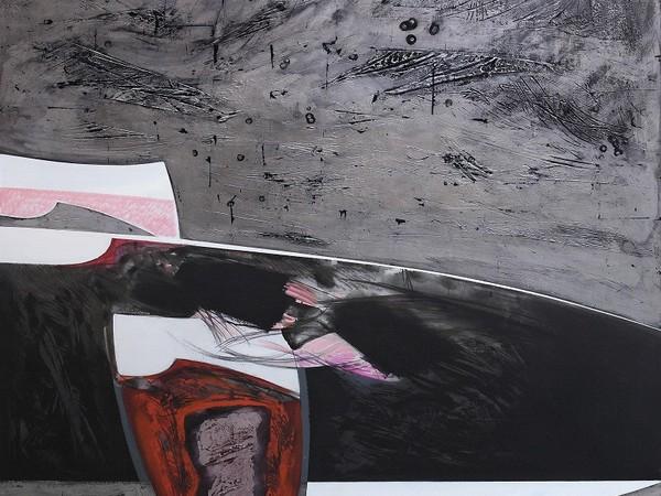 Lino Tardia, In viaggio con i Fenici, 1993, tecnica mista su tela cm. 180x180