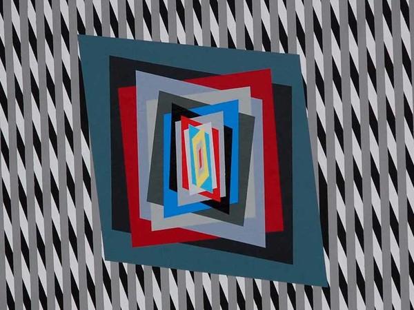 Ferruccio Gard, Effetto colore in op art 80-18-N.1, 2018, Colori acrilici su tela, 0 x 80 x 1 cm