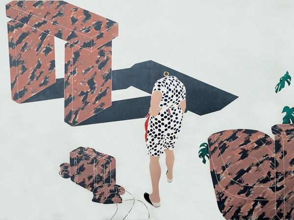 Emilio Tadini, Viaggio in Italia, 1971. Acrilici su tela, 200x300 cm. Collezione privata