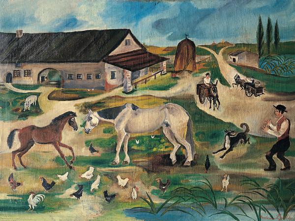Antonio Ligabue,<em> Cortile</em>, 1930, Olio su tela, 77 x 102 cm | Courtesy Fondazione Archivio Antonio Ligabue di Parma<br />