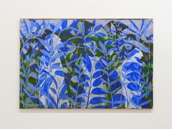 Thomas Berra, Blue Helsinki, 2020, gesso e acrilico su carta intelaiata, cm. 120x180