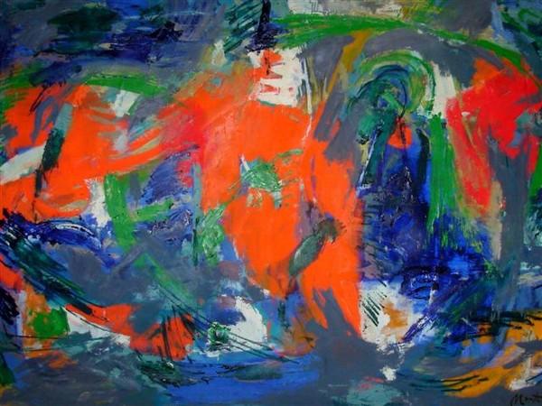 L. Montanarini, Composizione, 1958, olio su tela
