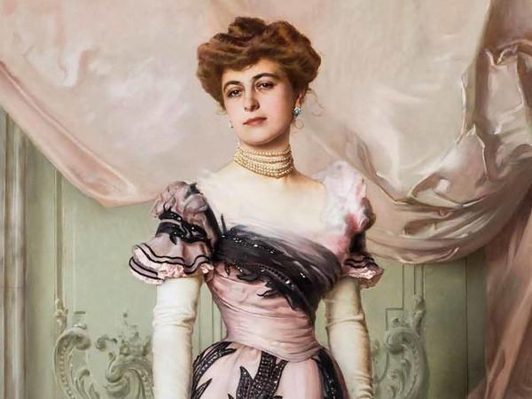 Vittorio Matteo Corcos, La contessa Carolina Sommaruga Maraini, 1901, Olio su tela, Fondazione per l'Istituto Svizzero di Roma