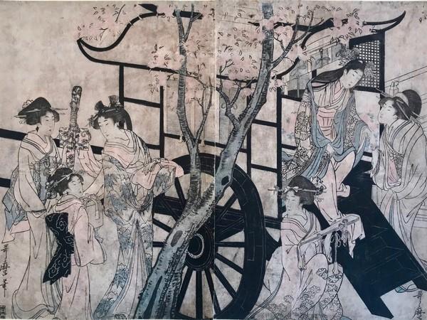 Utamaro Kitagawa, Dama che scende di carrozza, per ammirare i fiori di ciliegio,&nbsp;1801-04&nbsp;<br />