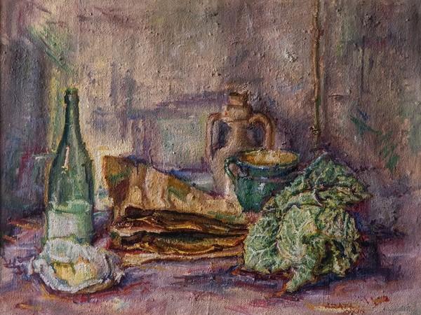 Francesco Arata, Natura morta con aringhe e verza, 1949, olio su tela