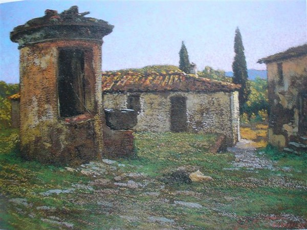 Adolfo Tommasi, Podere, Olio su cartone, 31,2x42,2