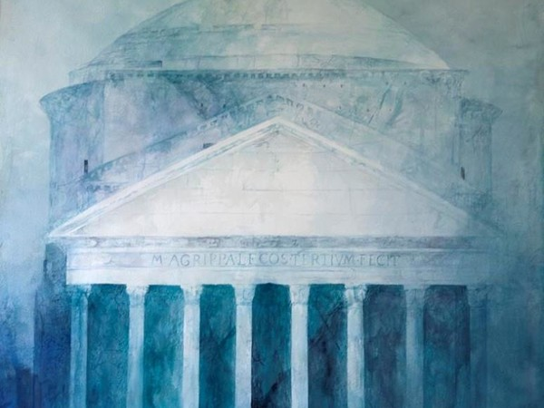 Pedro Cano, Pantheon, 2016. Acquerello su carta artigianale, 100x100 cm.