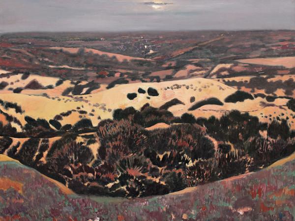 Wang Keju, La brezza serale del vasto deserto, 2011. Olio su tela, 140x160 cm.