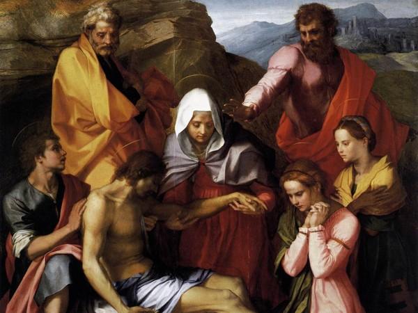 Andrea del Sarto (Andrea d'Agnolo; Firenze 1486-1530), Compianto su Cristo morto (Pietà di Luco), 1523-1524, olio su tavola, cm 238,5 x 198,5. Firenze, Gallerie degli Uffizi, Galleria Palatina, inv. 1912 n. 58