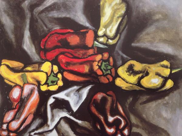 Renato Guttuso, Peperoni su fondo nero, olio su tela, cm. 60x75