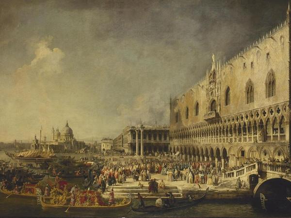 Canaletto, Ricevimento dell'Ambasciatore Francese a Palazzo Ducale, 1726-1727, olio su tela, Nuovo Ermitage - stanza 238