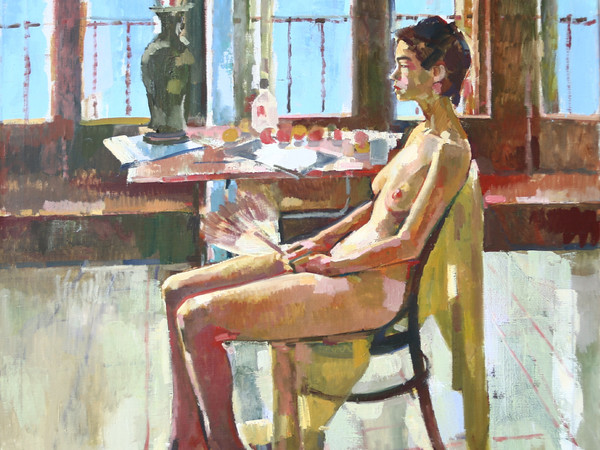 Geoffrey Humphries, Jo seated Giudecca studio, Olio su tela (Particolare) | Courtesy of the Artist and The Osborne Studio Gallery, London